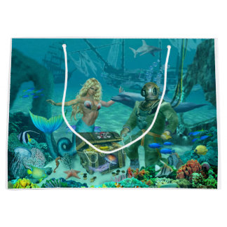 Mermaid's Coral Reef Treasure Large Gift Bag