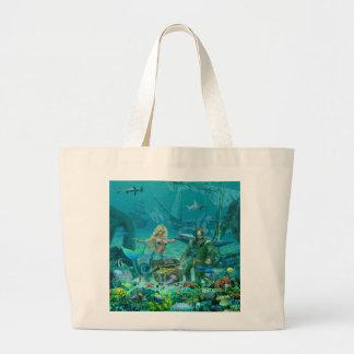 Mermaid's Coral Reef Treasure Large Tote Bag