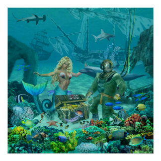 Mermaid's Coral Reef Treasure Poster