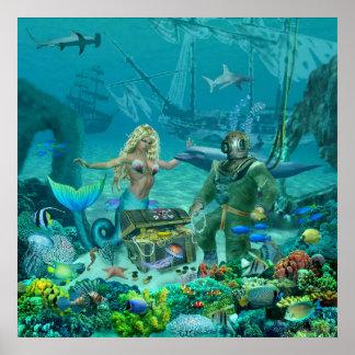 Mermaid's Coral Reef Treasure Poster