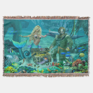 Mermaid's Coral Reef Treasure Throw Blanket
