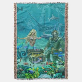 Mermaid's Coral Reef Treasure Throw Blanket