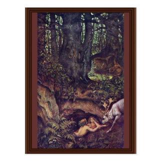 Mermaids Deer Mortifying By Schwind Moritz Von Postcard