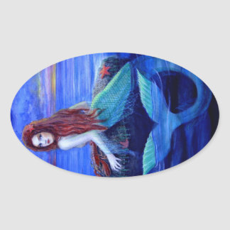 Mermaid's Dinner Oval Sticker