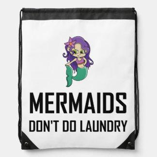 Mermaids Do Not Do Laundry Drawstring Bag