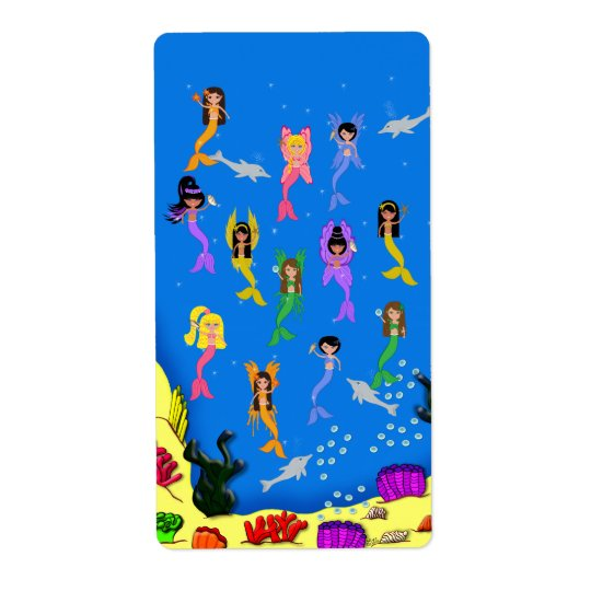 Mermaids Dolphins Avery Label