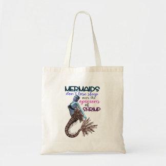 Mermaids don't lose sleep over shrimp tote bag
