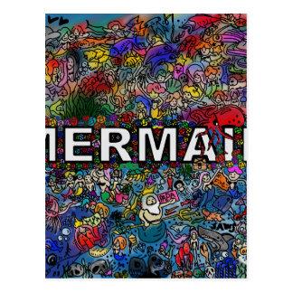 Mermaids Doodle Postcard