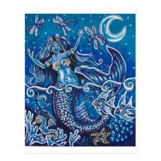 MERMAIDS DRAGONFLY NIGHT POSTCARD