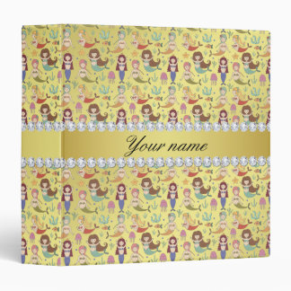 Mermaids Faux Gold Foil Bling Diamonds 3 Ring Binder
