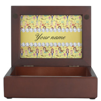 Mermaids Faux Gold Foil Bling Diamonds Keepsake Box