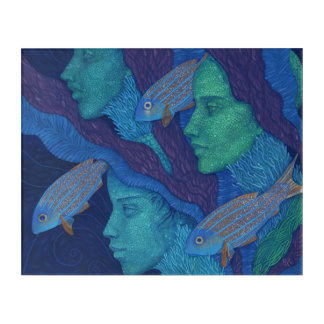 Mermaids & Fish, surreal fantasy art, underwater Acrylic Print