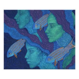 Mermaids & Fish, surreal fantasy art, underwater Photo Print