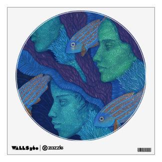 Mermaids & Fish, surreal fantasy art, underwater Wall Sticker