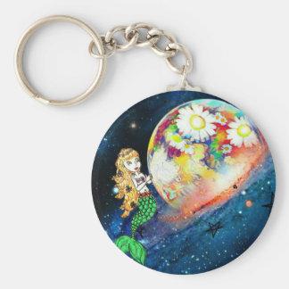 Mermaids in space basic round button keychain