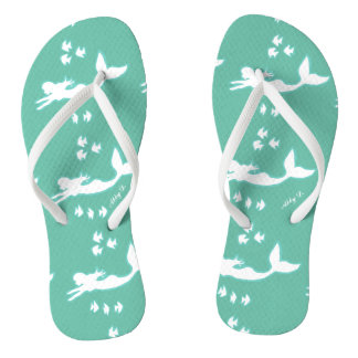 Mermaids Mint and White Silhouette Flip Flops