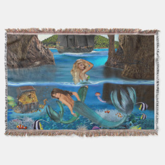 MERMAIDS OF THE PIRATE CAVE THROW BLANKET