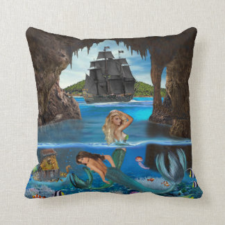 MERMAIDS OF THE PIRATE CAVE THROW PILLOW