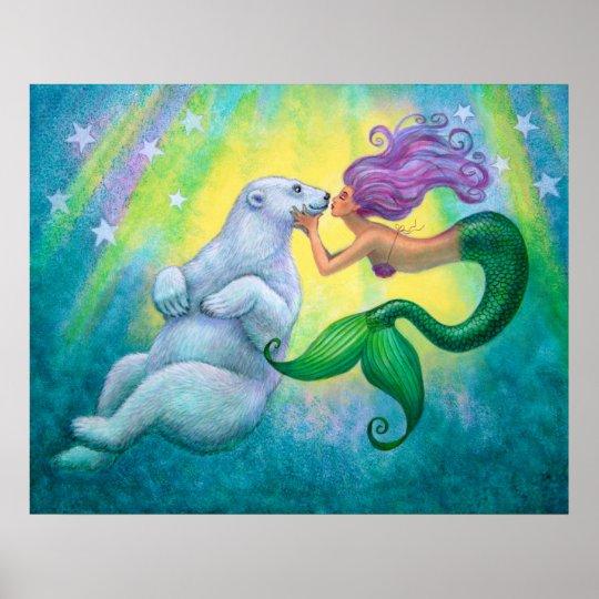 """Mermaid's Polar Bear Kiss"" Poster"