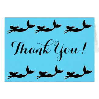 Mermaids Silhouette Blue Thank You Card