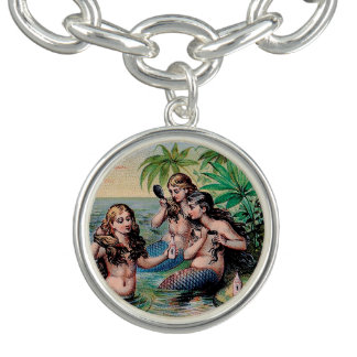 Mermaids Victorian Illustration Vintage Bracelet