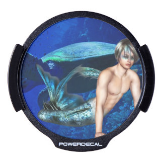 Merman with Sea Turtle LED Car Window Decal