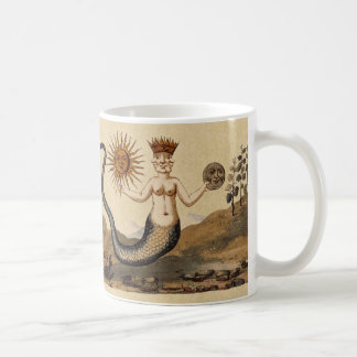 Merman with Sun and Moon Sepia Coffee Mug