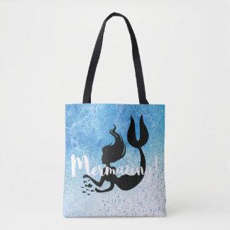 Mermazing Inscription Blue White Textured Mermaid Tote Bag