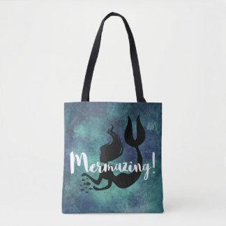 Mermazing Inscription Deep Blue Rustic Mermaid Tote Bag