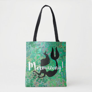 Mermazing Inscription Emerald Green Mermaid Tote Bag