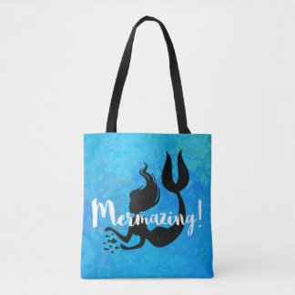 Mermazing Inscription Intensive Turquoise Blue Tote Bag