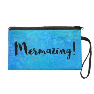 Mermazing Inscription Intensive Turquoise Blue Wristlet