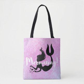 Mermazing Mermaid Pink Textured Tote Bag