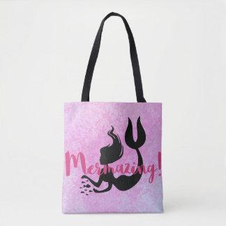 Mermazing Mermaid SIlhouette  Pink Textured Tote Bag