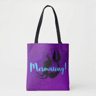 Mermazing  Purple Textured Mermaid Silhouette Tote Bag