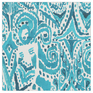 #MERMLIFE Aqua Nautical Mermaid Tribal Ikat Fabric