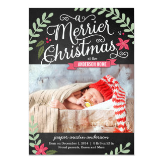 Merrier Christmas Birth Announcement Holiday Card