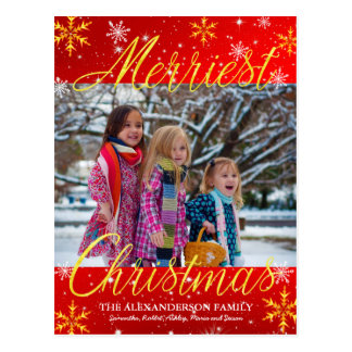 Merriest Christmas Family Photo Snowflakes Stars Postcard