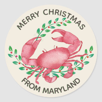 Merriest Christmas from Maryland Crab Classic Round Sticker