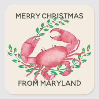 Merriest Christmas from Maryland Crab Square Sticker