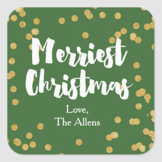 Merriest Christmas - Green Gold Sticker or Seal