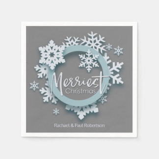 Merriest Christmas Modern Holiday Style Paper Napkins