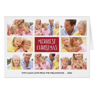 Merriest Christmas | Photo Collage Folded Holiday Greeting Card