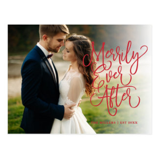 Merrily Ever After Full Photo Holiday   Thank You Postcard