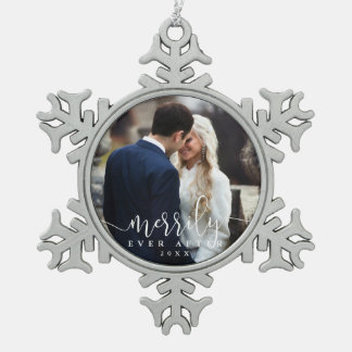 Merrily Ever After | Wedding Photo Pewter Snowflake Ornament