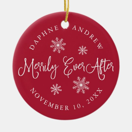 Merrily Ever After | Wedding Photo Round Ceramic Ornament