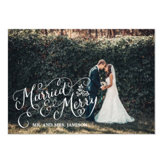 Merrily Married and Merry Holiday Photo Card