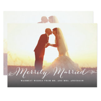 Merrily Married Script Christmas Holiday Photo Card