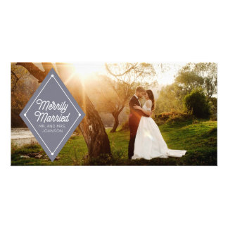 Merrily Married Wedding Announcement Holiday Photo Customized Photo Card