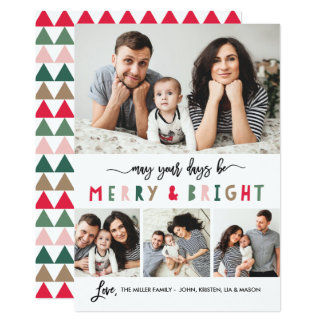 Merry And Bright 4 Photo Holiday Card- White Card